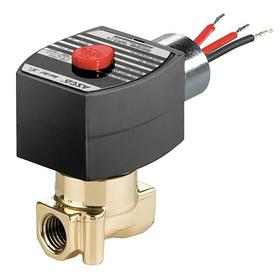 Emerson Solenoid Valve: Brass, Normally Closed Configuration, 1/8 Inlet Pipe Size, 120V AC, 0.21 Coefficient of Volume