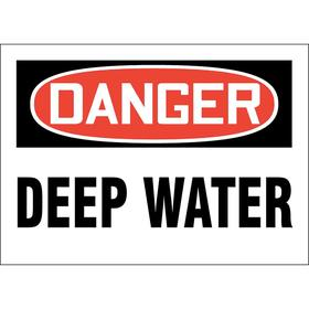 Water Safety Sign: Danger, 10 in Overall Ht, 14 in Overall Wd, Aluminum, Mounting Holes