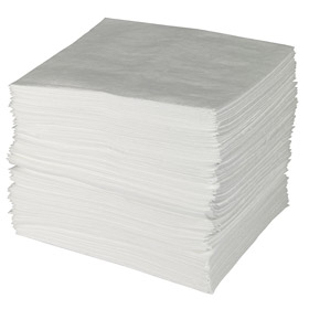 Brady Absorbent Pad: Oil Only, Medium-Wt Duty Rating, Nonperforated Perforation, 30 in Wd, 30 in Lg, White, 50 PK