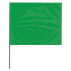 Presco Ground Marking Flag: Solid, Green, 21 in Overall Ht, 4 in Flag Ht, 5 in Flag Wd, PVC, Carbon Alloy Steel, 100 PK