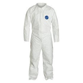 DuPont Collared Coverall: Tyvek, White, Zipper, Laydown Collar, 56.25 in Max Chest Size, 33 in Inseam Lg, Open