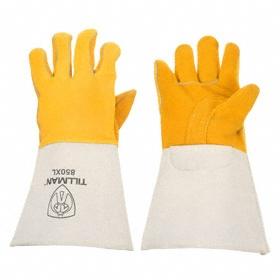 Welding Glove: Elkskin, L Size, Left/Right Pr, 1 mm Glove Material Thickness, 14 in Glove Length, Gauntlet Cuff, 1 PR