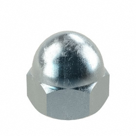 "Low Crown Acorn Nut: Steel, Zinc Plated, 5/8""-11 Thread Size, 5/8 in Thread Dp, 1 in Overall Ht, 2 PK"