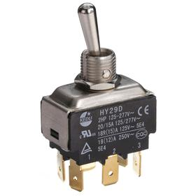 General Duty Toggle Switch: Non-Illuminated, 2 Positions, 20 A @ 125V AC Switch Rating, 2 Poles, On-On, DPDT, Maintained