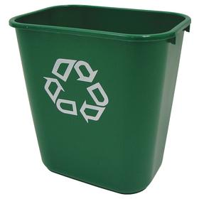 Rubbermaid Plastic Recycling Containers: 7 gal Capacity, Green
