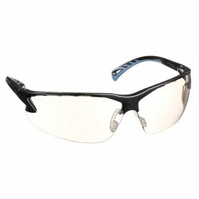 Pyramex Safety Glasses: Gray Mirror, Half Frame, Scratch Resistant, Black, Nylon, Adj Arms, Adj Temples