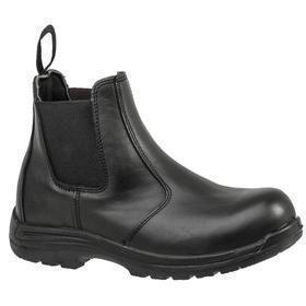 Avenger Leather Work Boot: Men, Composite, 6 in Shoe Ht, Black, Slip Resistant, Electrical Hazard Rated, Best Mfr Suggested Sole Slip Rating, 1 PR