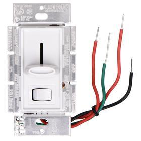 Lutron Dimmer Switch: For Incandescent/Halogen, Rocker Dimmer, 120V AC, 600 W Max Capacity, 4.69 in Overall Ht, 2.94 in Overall Lg, White, Wire Nuts