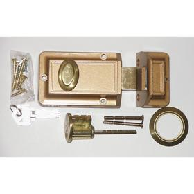 Auxiliary Spring Bolt: 2 1/2 in Backset, For 1 3/8 in Min Door Thickness, For 2 1/4 in Max Door Thickness, Single, Brown