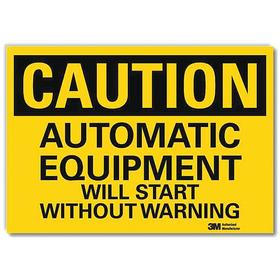 Lyle Machine Safety Sign: 5 in Overall Ht, 7 in Overall Wd, Vinyl, Self-Adhesive, Caution, English, Text, Yellow