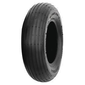Tire for Manual Push Equipment: 6 in Tire OD, Tubeless Pneumatic, 2 1/2 in Tire Wd, 3.00-6 Tire Sidewall, 4 Ply, Ribbed