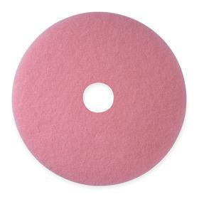 3M Floor Cleaning Pad: Buffing, Pink, Dry, For 19 in Machine Size, 5 PK