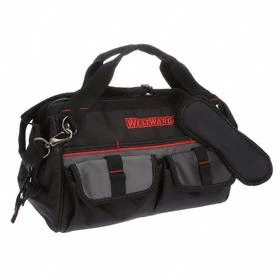 Wide-Mouthed Tool Bag: 9 1/4 in Overall Ht, 14 in Overall Lg, 21 Total # of Pockets, 7 1/2 in Overall Wd, Zipper, Black