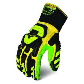 Ironclad Impact Glove: High Visibility, Back of Fingers/Back of Hand/Knuckles, ANSI Cut-Resist Level 1, Gauntlet Cuff, Full Hand, 1 PR