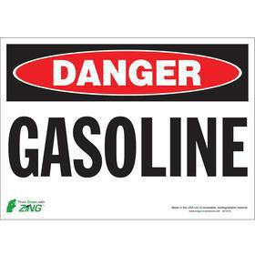 Hazardous Material Sign: Danger, 10 in Overall Ht, 14 in Overall Wd, Polyester, Self-Adhesive
