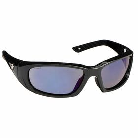 MCR Safety Glasses: Blue Mirror, Full Frame, Scratch Resistant, Black, ANSI Z87+, Polycarbonate/Thermoplastic