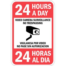 Lyle Security Sign: 18 in Overall Ht, 12 in Overall Wd, Aluminum, Mounting Holes, No Trespassing, 24 Hrs a Day Video Cam Surveillance
