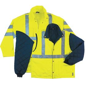 ANSI Class 3 Hooded Jacket: 2XL Size, Oxford Polyester, Lime/Black, Zipper, Attached Hood, Unisex, 6 Pockets, Thinsulate