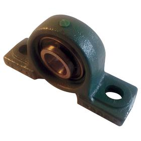 Base-Mount Bearing Unit: Inch, Painted, Iron, Steel, Std Duty, Set Screw, 1 3/16 in Bore Dia, 1 11/16 in Center Ht