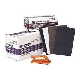 3M Sanding Pad: Aluminum Oxide, Medium Relative Grit Grade, 6 in Overall Wd, 9 in Overall Lg, Gray, Non-Woven, Rectangle