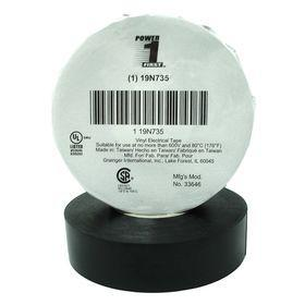 Flame Retardant Electrical Tape: Vinyl, 3/4 in Overall Wd, 0.007 in Overall Thickness, 66 ft Overall Lg, Black