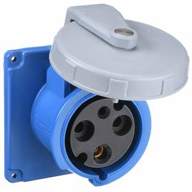 Hubbell IEC Non-Metallic Watertight Pin & Sleeve Female Receptacle: Single Phase, 3 Contacts, 60 Hz Volt Freq, 100 A Current