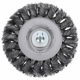 Deburring Wheel Brush: Knotted - Std Twist, Shank, Steel, 3 1/4 in Brush Dia, 1/4 in Shank Dia, 0.0118 in Bristle Dia