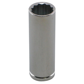 Deep Socket: Metric, 1/4 in Drive Size, 12 Points, 16 mm Socket Size, 2 in Overall Lg, 1 5/8 in Bolt Clearance Dp