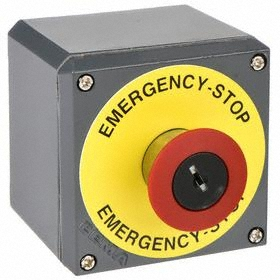 GE Emergency Stop Push Button Station: Red, 2.95 in Overall Wd, 3.43 in Overall Ht, 3.43 in Overall Dp, 1 Operators