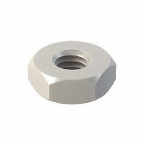 Hex Nut: Nylon, White, 10-32 Thread Size, 3/8 in Wd, 9/64 in Ht, 25 PK