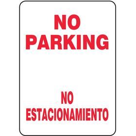 Accuform No Parking Sign: 14 in Overall Ht, 10 in Overall Wd, Vinyl, No Parking/No Estacione, English/Spanish, Text
