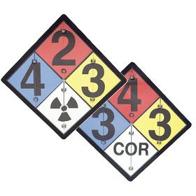 NFPA Sign: NFPA Diamond, 15 1/2 in Overall Ht, 15 1/2 in Overall Wd, Aluminum, Mounting Holes