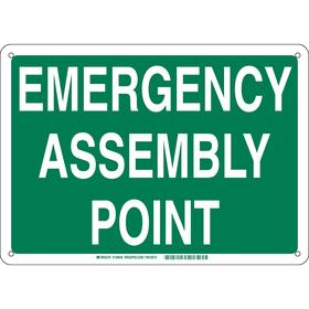 Brady Emergency Assembly Point Sign: 10 in Overall Ht, 14 in Overall Wd, Aluminum, Mounting Holes, Text, Green