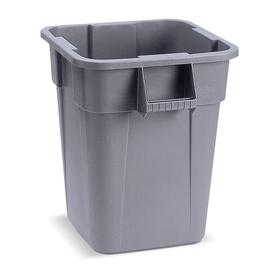Rubbermaid Plastic Trash Container: 40 gal Capacity, Gray, 23 1/2 in Overall Lg, 23 1/2 in Overall Wd