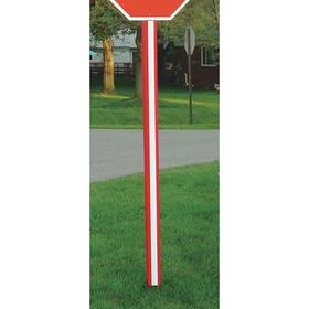 U-Channel Sign Post Cover: 84 in Overall Lg, Red/White, Polyethylene