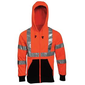 ANSI Class 3 High Visibility Hooded Sweatshirt: 4XL Size, Polyester, Black/Orange, Zipper, 62 in Max Chest Size, Unisex