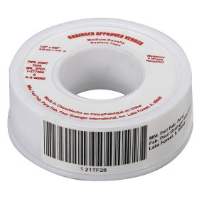 Pipe Thread Sealant Tape: Std, MIL-T-27730A & MIL-A-A-58092, 1/4 in Wd, 520 in Lg, White, -400° F Min Op Temp