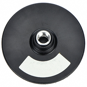ARC Backing Pad: 0 Vacuum Holes, Threaded Arbor, 4 in Disc Dia, Hook & Loop, Black, Medium Density Grade, Smooth, Flex, For Wet Sanding