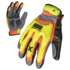 Ironclad Mechanic Glove: High Visibility, Back of Hand, ANSI Cut-Resist Level 1, Hook & Loop Cuff, Orange/Yellow, Large Size, 1 PR