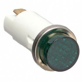 Pilot Light: Raised, 120V AC, 1.46 in Overall Lg, Nylon, 0.187 in Tab, Green, Signaling, 15000 hr Avg Life, White