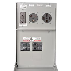 Hardwired GFCI Outlet Panel: Steel, NEMA 3R NEMA Rating, 50 A Current Rating, 120/240V AC, Manual, Lug