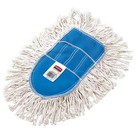 Rubbermaid Dust Mop Head: Slip On, Cut End, 15 1/4 in Lg, 12 in Wd, Washable Cotton, White, Blue, Synthetic, Wood Handle