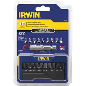 Irwin Drive Bit: Phillips/Square/Torx Bit, Impact, PH1/PH2/PH3/SQ1/SQ2/SQ3/T25 Point Size, 1 in Overall Lg, Black Oxide