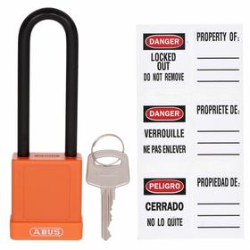 Nonconductive Lockout Padlock with Labels: Keyed Alike, Orange, 1 3/4 in Body Ht, 1 1/2 in Body Wd, 51/64 in Body Thickness