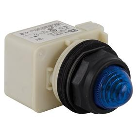 Schneider Electric Pilot Light: 120V AC, Full Volt, For LED, Blue, Metal, Pressure Plate, AC Current Type, Includes Lens