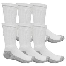 Socks: Men, White, 10 to 13 Men's Size, Cotton/Elastane/Other Fiber/Polyester, 6 PK