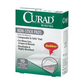 Medline Nonstick Pad: Bulk, 2 in Overall Wd, 3 in Overall Lg, Sterile, White, 70 Haz Material Indicator, 10 PK