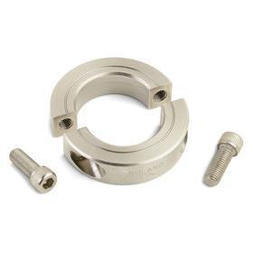 Two-Piece Clamp-On Shaft Collar: Inch, 303 Stainless Steel, 1 7/16 in Bore Size, 2 1/4 in OD, 9/16 in Overall Wd