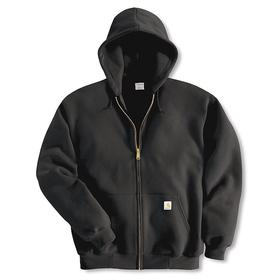 Hooded Sweatshirt: Black, XL Size, Cotton/Polyester, Zipper, 48 in Max Chest Size, 2 Pockets, Long Sleeve Lg Type, Men