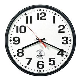 Clock: 14 1/2 in Dia, Plastic, Battery Power Source, AA, Analog, 1.8125 in Dp, White, Styrene, Black, Wall Mount, Metal